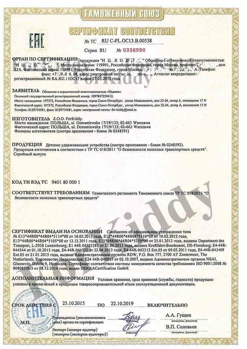 Сертификация на автокресла сертификация предприятия мясной промышленности 18001
